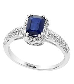 Effy® 14K White Gold Sapphire And 0.31 Ct. T.W. Diamond Ring