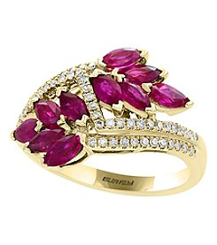 Effy® 14K Yellow Gold Natural Ruby And Diamond Ring