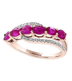 Effy® 14K Rose Gold Ruby And .15 ct. t.w. Diamond Ring