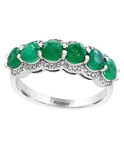 Effy®14K White Gold Emerald and 0.20 ct. t.w.Diamond Ring