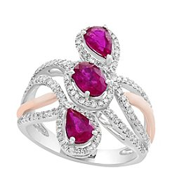 Effy® 14K Two Tone Gold Diamond And Ruby Ring