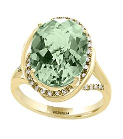 Effy® 14K Yellow Gold Diamond And Green Amethyst Ring