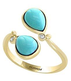 Effy® Turquoise .03 ct. t.w. Diamond Ring