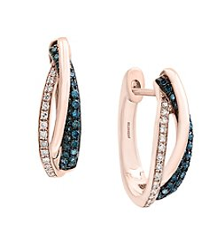 Effy® 14K Rose Gold Huggie Diamond Earrings