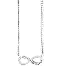 Effy® 14K White Gold Infinity Diamond Necklace