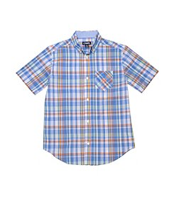 Chaps® Boys' 8-20 Short Sleeve Multi Plaid Woven Shirt
