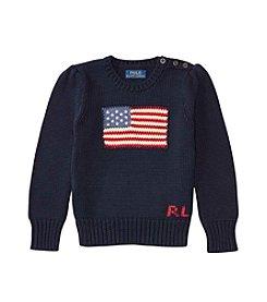 Polo Ralph Lauren® Girls' 2T-6X Long Sleeve Combed Flag Sweater