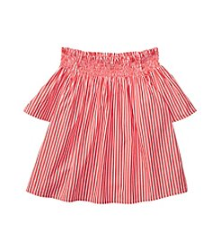Polo Ralph Lauren Girls' 7-16 Striped Off The Shoulder Top
