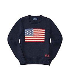 Ralph Lauren® Girls' 7-16 Long Sleeve Combed Flag Sweater