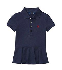 Ralph Lauren® Girls' 7-16 Short Sleeve Stretch Peplum Polo Shirt