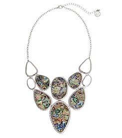 Erica Lyons® Silvertone Simulated Abalone Bib Front Necklace