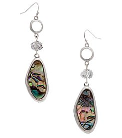 Erica Lyons® Silvertone Simulated Abalone Oval Drop Earrings