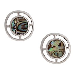 Erica Lyons® Silvertone Simulated Abalone Button Clip Earrings