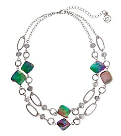 Erica Lyons® Silvertone Simulated Abalone Double Chain Necklace