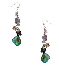 Erica Lyons® Silvertone Simulated Abalone Drop Cluster Earrings