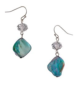 Erica Lyons® Silvertone Simulated Abalone Double Drop Earrings