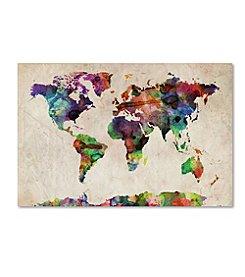 Trademark Global Fine Art Michael Tompsett 'Urban Watercolor World Map' Canvas Art