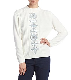 Alfred Dunner® Petites' Northern Lights Ivory Center Medallion Sweater