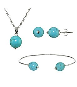 Designs by FMC Silver-Plated Turquoise Earrings, Pendant, and Bracelet Set