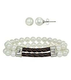 Designs by FMC Silver-Plated Gray Pearl Earrings and Bracelet Set