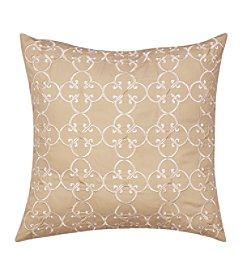 Nostalgia Home Sena Square Taupe Embroidered Medallion Decorative Pillow