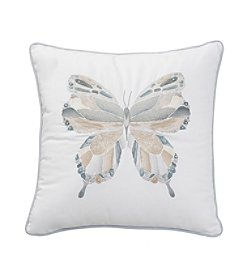 Shell Rummel Sea Glass Mosaic Square Blue Embroidered Butterfly Decorative Pillow