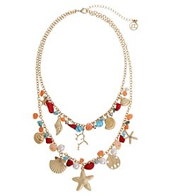 Erica Lyons® Sea Life Goldtone Double Row Charm Necklace