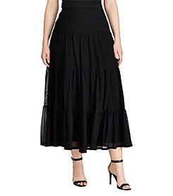 Lauren Ralph Lauren® Plus Size Tiered Mesh Maxi Skirt