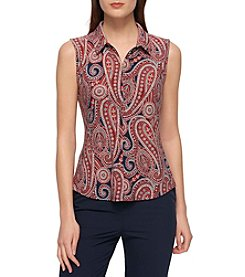 Tommy Hilfiger® Buttondown Paisley Knit Top