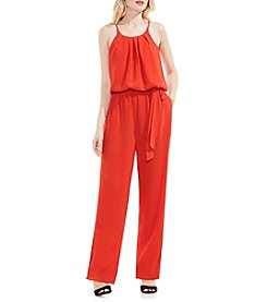 Vince Camuto® Pleat Neck Belted Jumpsuit