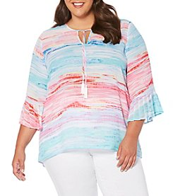 Rafaella® Plus Size Seaside Stripe Bell Sleeve Top