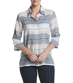 Alfred Dunner® Petites' Roll Tab Stripe Equipment Woven Blouse