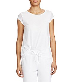 Lauren Ralph Lauren® Mesh-Sleeve Stretch Cotton Tee