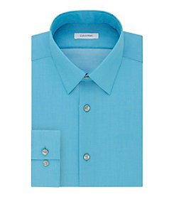 Calvin Klein Men's Slim Fit Solid Herringbone Dress Shirt