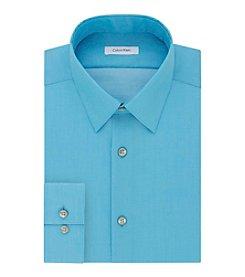 Calvin Klein Men's Slim Fit Solid Herringbone Dress Shirt