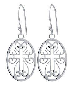 Athra Oval Laser Cut Cross Drop Earrings