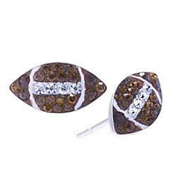 Athra Crystal Pave Football Stud Earrings