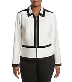 Calvin Klein Plus Size Piped Frame Zip Front Jacket