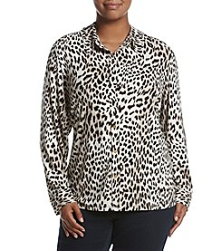 Calvin Klein Plus Size Button Down Cheetah Print Top