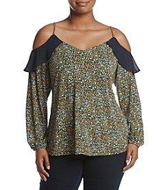 MICHAEL Michael Kors® Plus Size Print Cold Shoulder Chain Strap Top