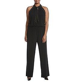 MICHAEL Michael Kors® Plus Size Stud Tie-Neck Matte Jersey Jumpsuit