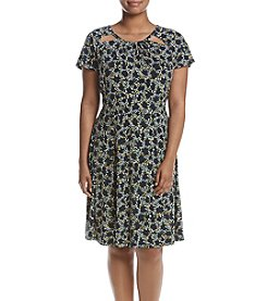 MICHAEL Michael Kors® Plus Size Floral Cut-Out Neck Flare Dress