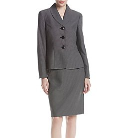 LeSuit® Dot-Print Shawl-Collar Skirt Suit