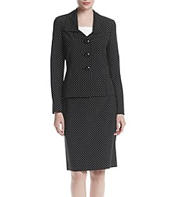LeSuit® Dot-Print Ruffle-Collar Skirt Suit