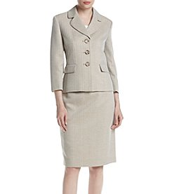 LeSuit® Herringbone Three-Button Skirt Suit