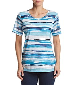Alfred Dunner® Petites' Brushstroke Stripe Knit Top