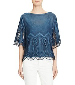 Lauren Ralph Lauren® Scalloped Trim Cotton Top