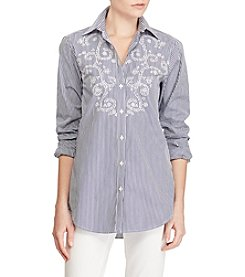 Lauren Ralph Lauren® Striped Eyelet Cotton Shirt