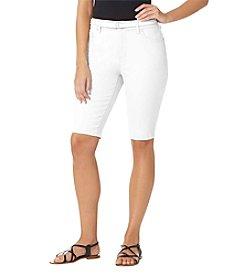 Bandolino® Plus Size Mandie Belted Twill Bermuda Shorts
