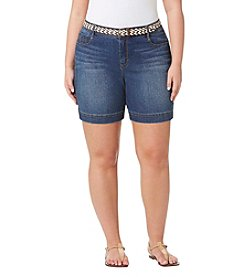 Bandolino® Plus Size Amalia Belt Denim Shorts